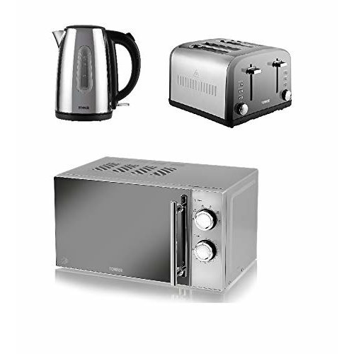 TOWER Polished Silver 1.7L Jug Kettle a 4 Slice Toaster and a Manual Microwave,
