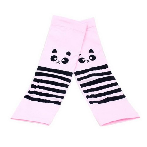 Girls Summer Outdoor Ride Sunscreen Cuff Protection Gloves Pink Big Eyes Raccoon