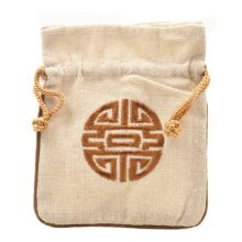 5PCS Handcraft Embroidery Purse Pouch Mini Drawstring Bag Pocket, Beige
