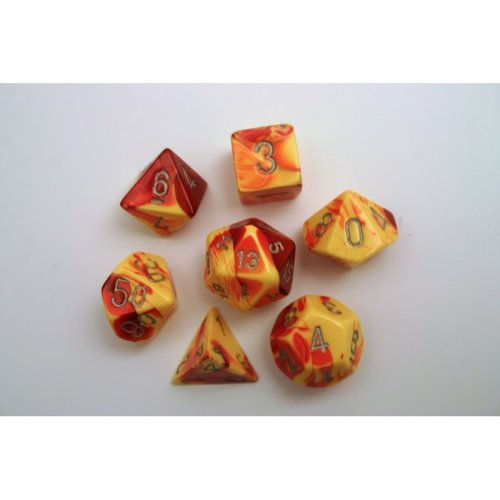 Chessex Gemini Polydice Set - Red-Yellow w/silver