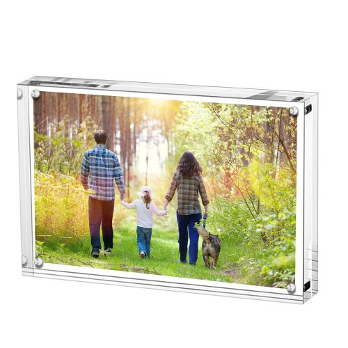 Acrylic Photo Frame, Stand with Magnets, Holds 6 X 8 Inches Pictures,10mm+10mm Thickness Transparent by Boxalls