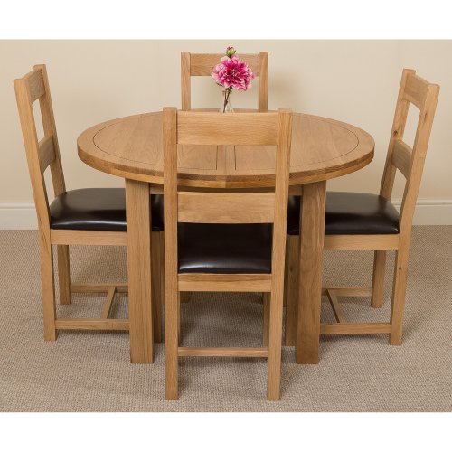 Round Table Lincoln.Edmonton Solid Oak Oval 110cm Extending Dining Table With Lincoln Dining Chairs