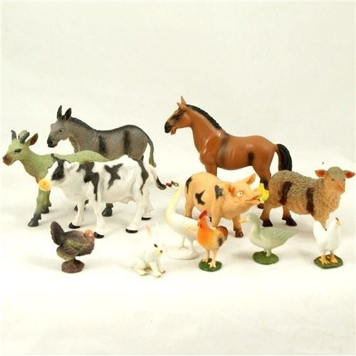 MY FARM PLASTIC ANIMALS SET CHILDRENS KIDS WILD PETS FIGURES PLAYSET TOY 12PCS