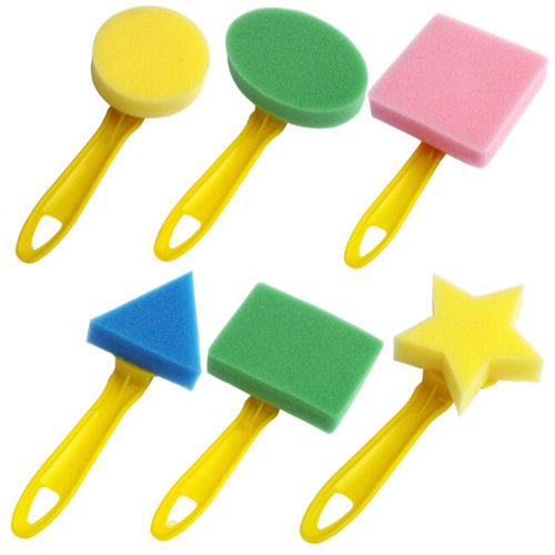 Random Colors Painting Foam Brushes Kids/Children's Art Supplies 6PC