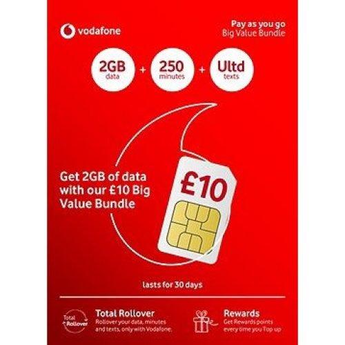 Vodafone £10 Big Value Pay as You Go Triple sim card
