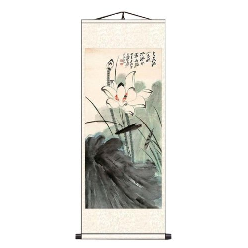 f8a9207a5 Chinese Scroll Painting Home Decor Silk Scroll Hanging Art Lotus Flower, 33  on OnBuy