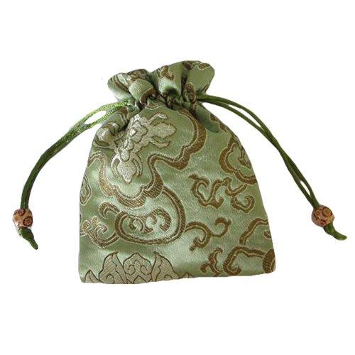 Fashion Jewelry Pouch Drawstring Bag Cloth Gift Bag 10pcs-Green