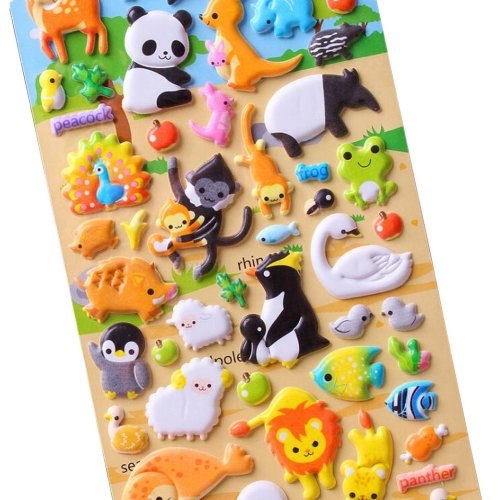 5 Sheets Funny Cartoon Stickers Children Decorative Toys[Animal]