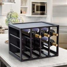 HOMCOM Wine Rack, 12 Bottles, Wood-Dark Brown