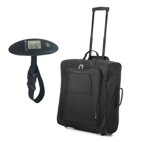 easyJet, British Airways, Jet2 56x45x25 Maximum Cabin Hand Luggage Approved Trolley Bag, Huge 60L Capacity (Black easyJet/BA 56cm Max + Scales)