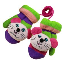 1 Pair Children's Winter Gloves Soft knitted&Warm Mittens (3-6 Years) Mouse
