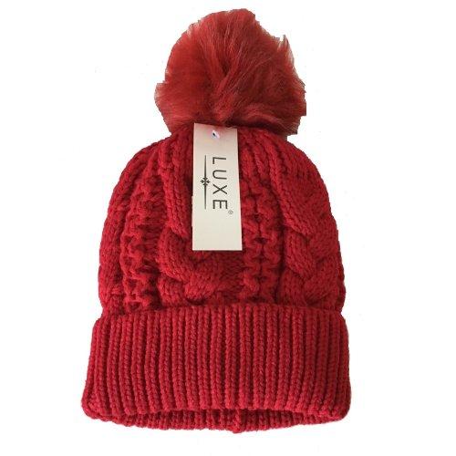 cb4d51dc685 Women Red Chunky Knit pompom Beanie Hat Winter Bobble Fleece Ski Snow on  OnBuy