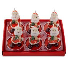Set of 6 Father Christmas with Presents Shaped Tea Light Candles