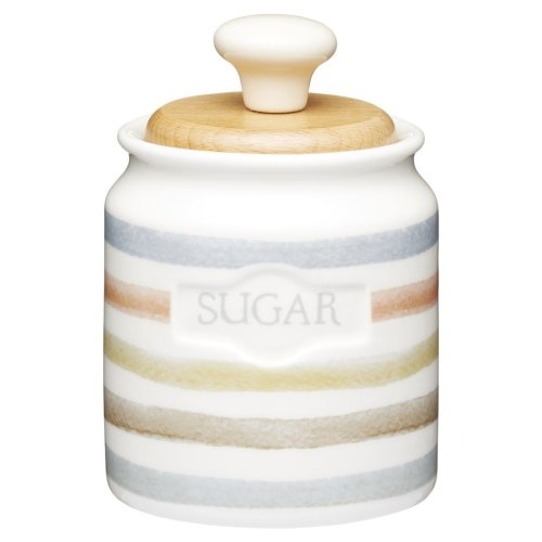 KitchenCraft Classic Collection Striped Ceramic Sugar Pot, 450 ml (16 fl oz) - Cream