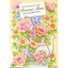 With Lots of Love Dearest Mum on your Birthday Greeting Card