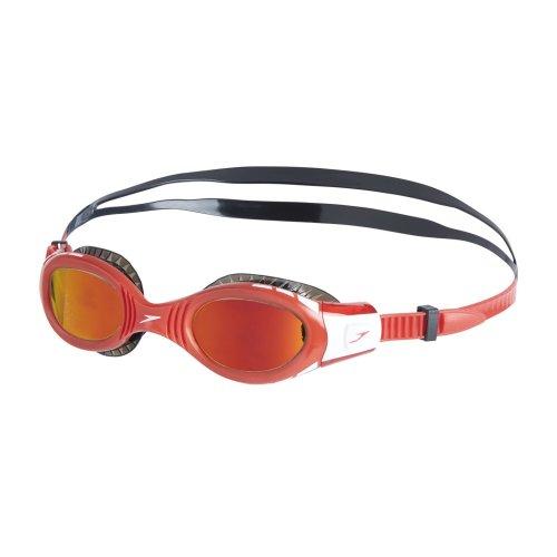 Speedo Kids' Junior Unisex Futura Bio Fuse Flexi Seal Mirror Goggles, Black/Red, One Size