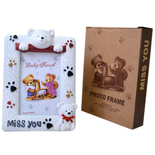 """Creative Lovely Cartoon Bear Table-top Picture/Photo Frames 6*4.5"""" White"""
