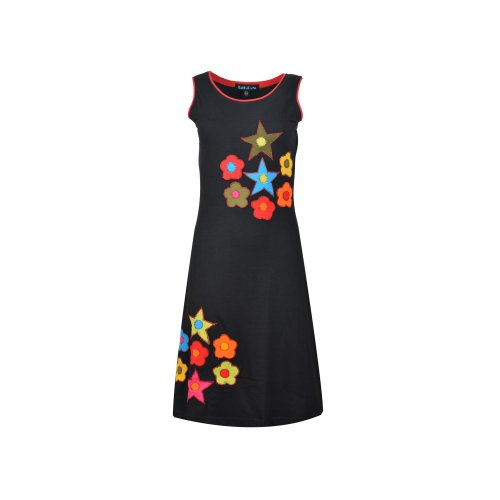 Ladies sleeveless dress with star and flower patches