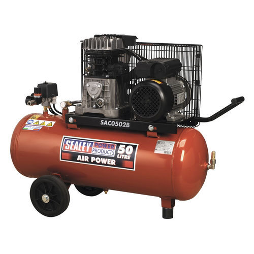 Sealey SAC0502B 50ltr Belt Drive Compressor 2hp with Cast Cylinders & Wheels