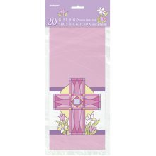 Unique Party Sacred Cross Cello Bags - Pink - Religious Cellophane 20ct -  pink sacred cross religious cellophane bags 20ct