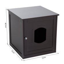 PawHut 2 in 1 Wooden Litter Box Toilet Cat Pet House 51 x 51 x 48.5 cm (Dark Brown)
