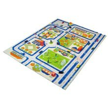 Kids Childrens Rug Play Mat in Town Traffic Blue design 134 x 180cm