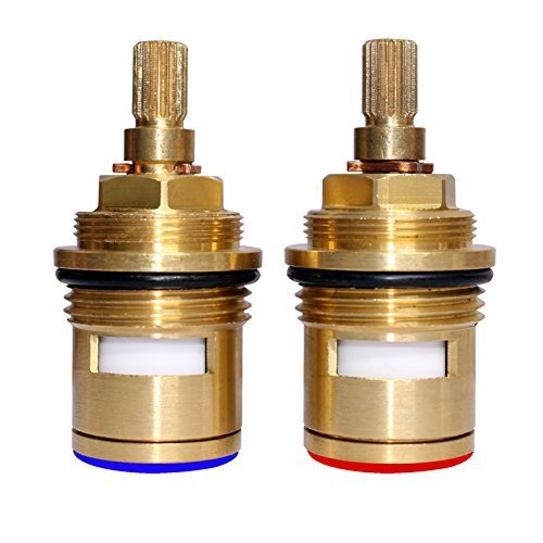 Skybath Bathroom Basin 2PCS Pair 3/4 Ceramic Disc Cartridge Replacement Mixer Hot and Cold Tap Inner Faucet Valve Quarter Turn (Hot and cold...