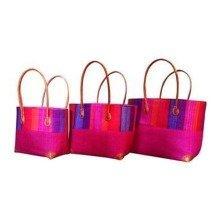 Madagascar Set of 3 Hot Pink Raffia Hanta Strip Basket