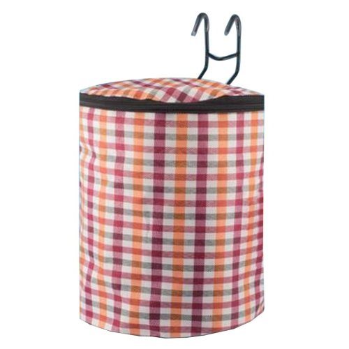 [Plaid-4] Waterproof Canvas Bicycle Basket Foldable Lidded Basket for Bike