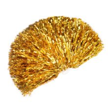 Set of 2 Metallic Foil Cheerleading Sports Pom Poms Stage Props for Dance and Performances