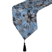 11 By 83 Inch Blue Flowering Plant Luxury Table Runner Tablecloths Bed Runner
