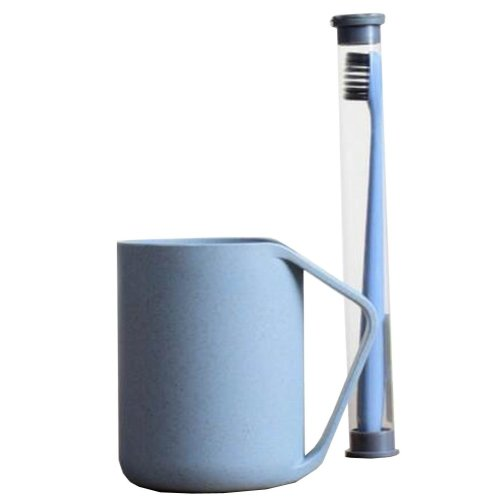 Wheat Straw Tooth Mug Toothbrush Holder With Toothbrush Toothbrush Stand [Blue]