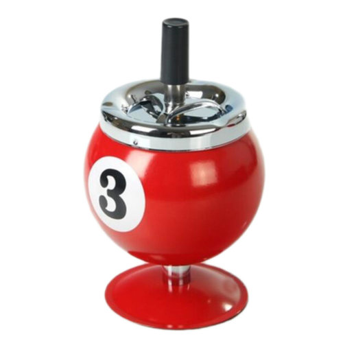Fashion Cool Ashtrays With Lids Billiard Ashtrays Home Office Car Ornament-Red 3