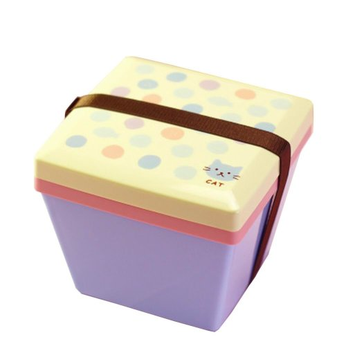 Lovely 2 Layers Bento Lunch Box Food Container Salad Box Cat Random Color