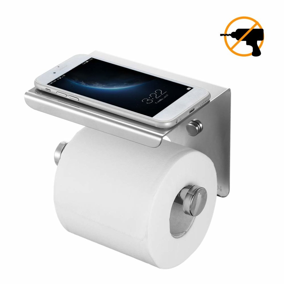 23654ef5da12cb esonmus Toilet Paper Holder Wall-Mounted 304 Stainless Steel Tissue Roll  Holder With Mobile Phone Stand For Bathroom on OnBuy