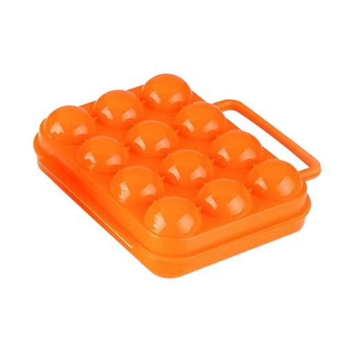Kitchen Plastic Egg Storage Boxes Eggs Holder Eggs Trays 12 Grid Orange