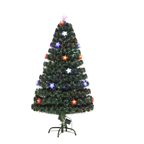 Homcom 5ft Fibre Optic Christmas Tree With LED Star Lights