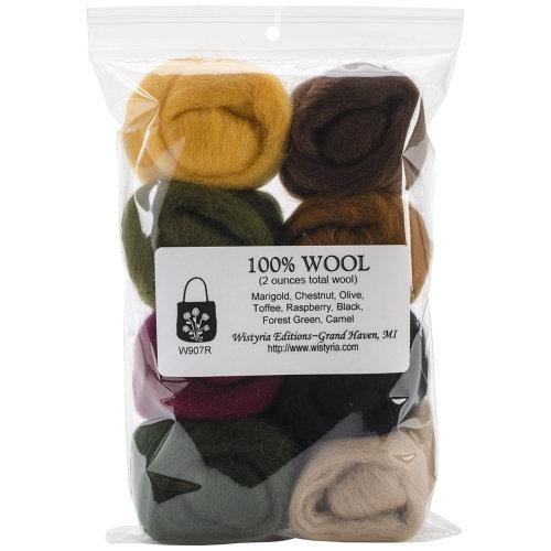 "Wistyria Editions Wool Roving 12"" .25oz 8/Pkg-Falling Leaves"