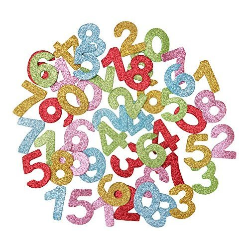 Glitter Foam Numbers Stickers For Crafts x 100 With Self Adhesive Backing - Kids Craft Embellishments for Decorating, Scrapbooking - Card Making