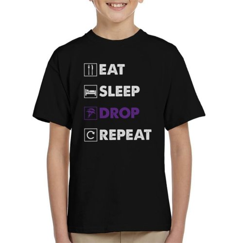 Eat Sleep Drop Repeat Fortnite Purple Logo Kid's T-Shirt