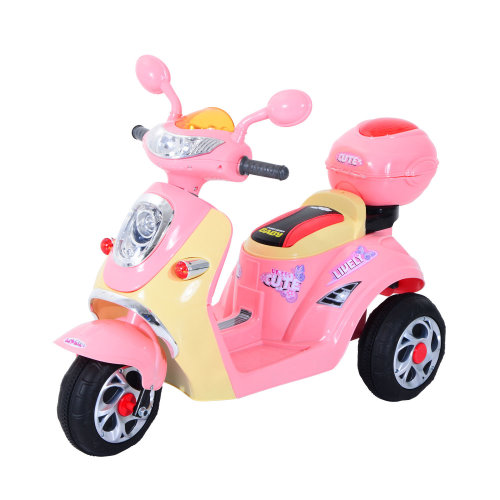 Homcom Kids Electric Ride On Motorbike w/ 6V Chargeable Battery Headlight and Music (Pink)