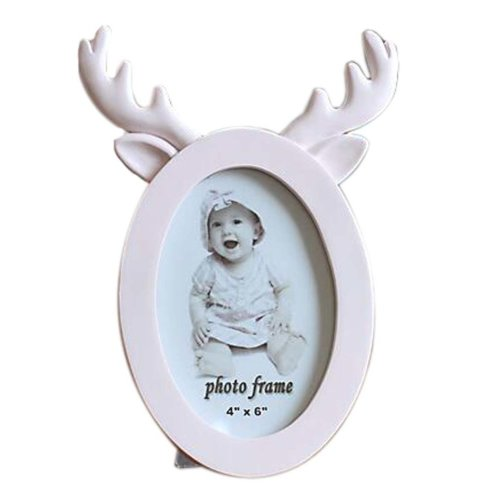 6-inch Photo Frame Antlers Shape Lovely Photoframe and Home Decoration, Pink