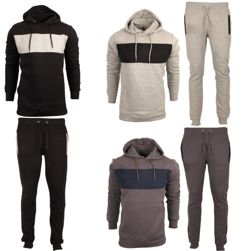 Mens Contrast Fleece Tracskuit