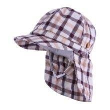 Unisex Kids Sunbonnet, Lightweight Cap Sunhat Neck Protection Grid Coffee