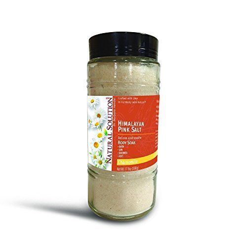 Himalayan Pink Salt Chamomile Body Soak &amp Bath Salt 500g pound Jar Ingredients with Pure Essential Oils.
