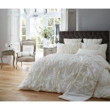 Alexander cream ruched cotton blend duvet cover