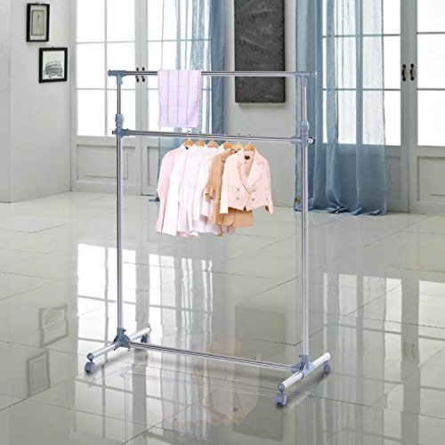 Homcom Adjustable 2-Tier Clothes Rail | Heavy Duty Clothing Hanging Rail