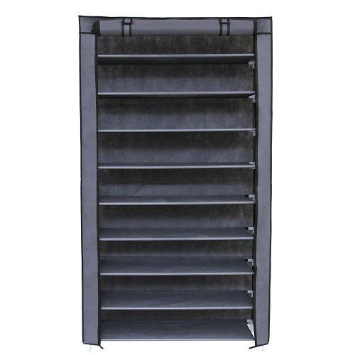 SONGMICS 10 Tier up to 45 Pairs Adjustable Shoes Rack Cabinet Storage with Door 88 x 28 x 160 cm Grey RXJ36G