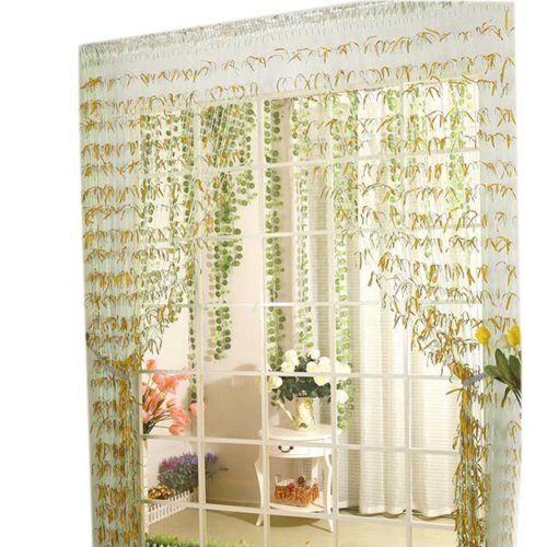 Willow Line Door String Curtain Window Panel Room Divider Strip Curtain, Gold