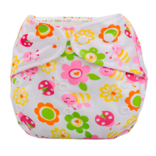 Summer Grid Baby Cloth Diaper Cover Adjustable Size Sun Flowers Pattern